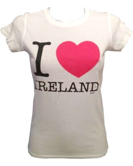 T-Shirt Bianca da Donna – I Love Ireland